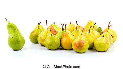 Big green pear - leader of pears (Isolated on white)