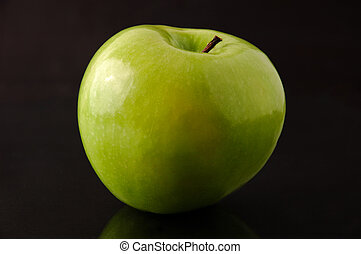 Granny Smith apple isolated - Big green ripe Granny Smith...