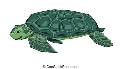 Big green sea turtle, fantasy flat Earth concept. Flat vector illustration. Colored cartoon style, isolated on white background.