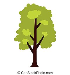 Big green tree icon, flat style