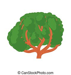 Big green tree icon in cartoon style