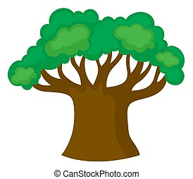 Big green tree on white background