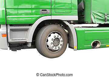 Big green truck. Isolated over white. Fragment