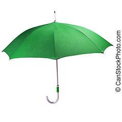 Big green umbrella on a white background