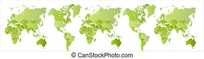 Big green world map. Expanded Planet Earth. Globe scan....