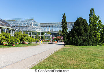 Big greenhouse in the botanical garden of Berlin