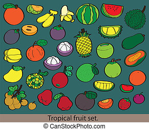 Big group of different fresh fruit.