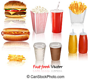 Big group of fast food products. Vector illustration