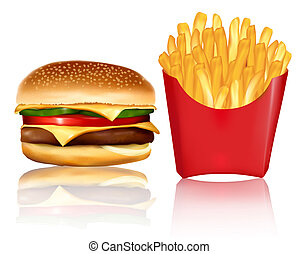 Big group of fast food products.