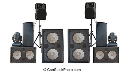 Big group of old industrial powerful stage sound speakers isolated over white