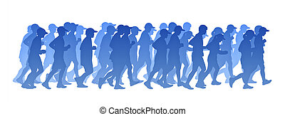big group of people running blue gradient silhouette