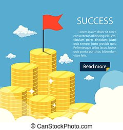 Big growth money stairs in sky with red flag. Success financial rich concept. Business concept. Vector illustration in flat design.