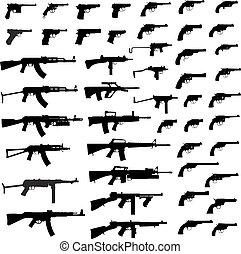 Big Gun Collection - Collection of Gun .Detailed vector...