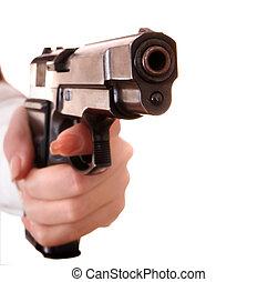 Big gun in female hand.