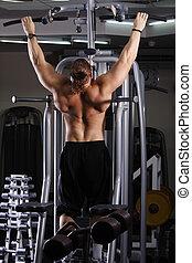 Big guy preparing for training