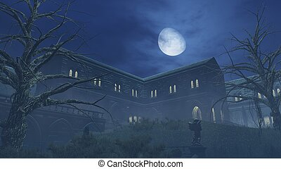 Big half moon above old creepy mansion - Fantastic big...
