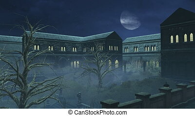 Big half moon above old mansion - Cloudy night sky with...