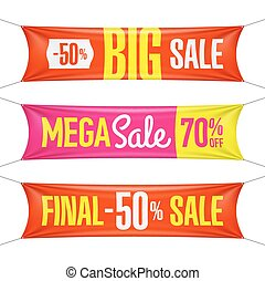 Big, half price and one day sale vinyl banners