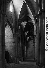 Big hall in Poblet cloister, Spain