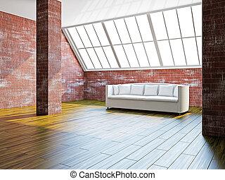 Big hall with white sofa
