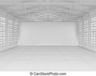 Big hall with windows on walls and ceiling