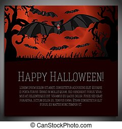 Big halloween banner with black scary bats on the red moony background. Vector
