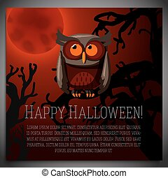 Big halloween banner with illustration of brown owl sitting on the creepy tree branch, with the red moony background and scary tree branches. Vector illustration