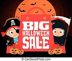 Big Halloween sale design background with kids