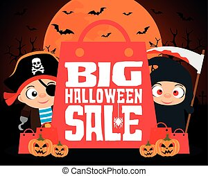 Big Halloween sale design background with kids