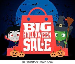 Big Halloween sale design background
