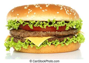 Big hamburger   - Big hamburger on white background