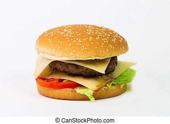 Big hamburger isolated on white background