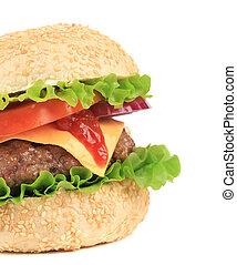 Big hamburger isolated on white.