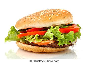 Big hamburger side view isolated - Big appetizing hamburger...