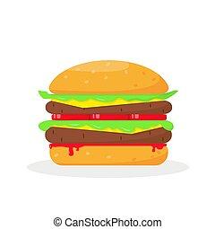 Big hamburger vector illustration on white background.