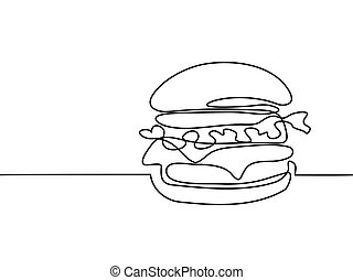 Big Hamburger with French fries - Continuous line drawing....