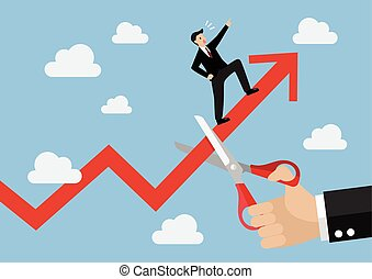 Big hand cutting growing graph of businessman