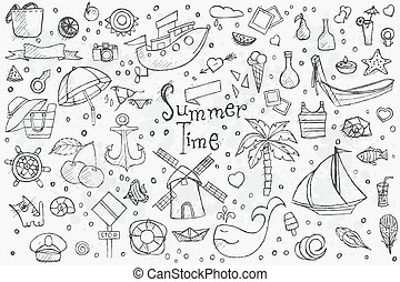 Big hand drown set on white background of summer doodles...
