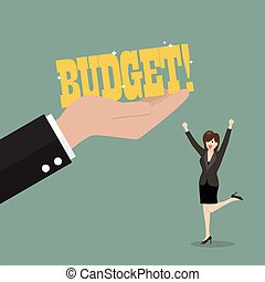 Big hand give a budget to business woman