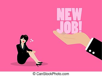 Big hand give a new job to desperate business woman
