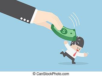 Big hand hit businessman head by dollars banknote