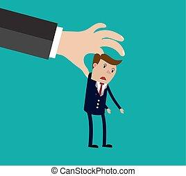 Big hand holding businessman