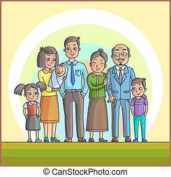 Big Happy Asian Family. Parents with Children.
