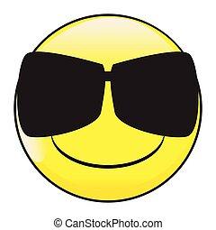 Big Happy Eyes Smile Face Button Emoticon With Dark Glasses