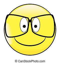 Big Happy Eyes Smile Face Button Emoticon With Glasses