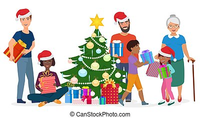Big happy family decorates the Christmas tree together. Vector illustration.
