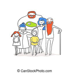 Big happy family. Father, mother, grandpa, grandma and children together. Vector illustration of a flat design