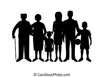 Big happy family. Father, mother, son, daughter, grandfather, grandmother, baby.