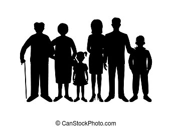 Big happy family. Father, mother, son, daughter,...