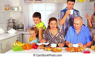 Big happy family have breakfast. - Big happy family have...